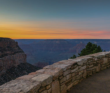 Sunset along the Bright Angel Trail at the South Rim of Grand Canyon National Park