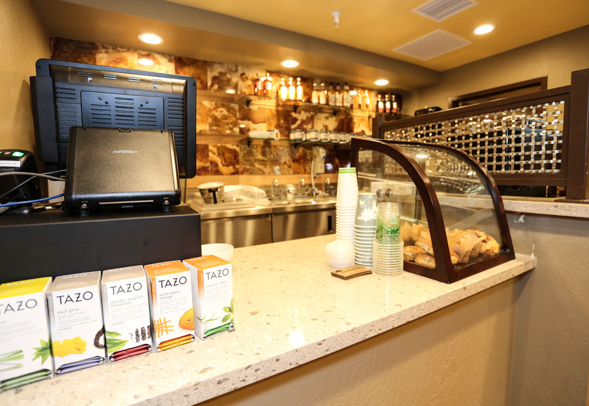Coffee, tea, grab-and-go foods and more are available.