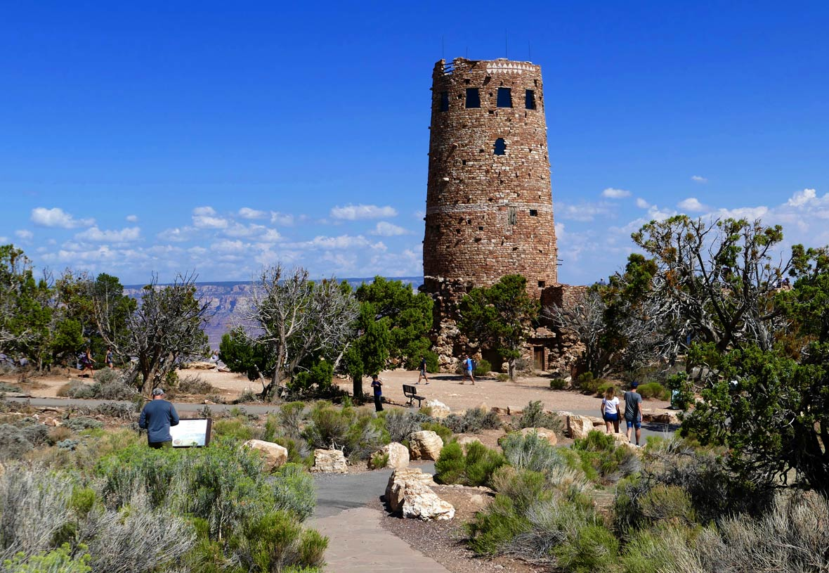 View of Desert View Watchtower at Grand Canyon National Park