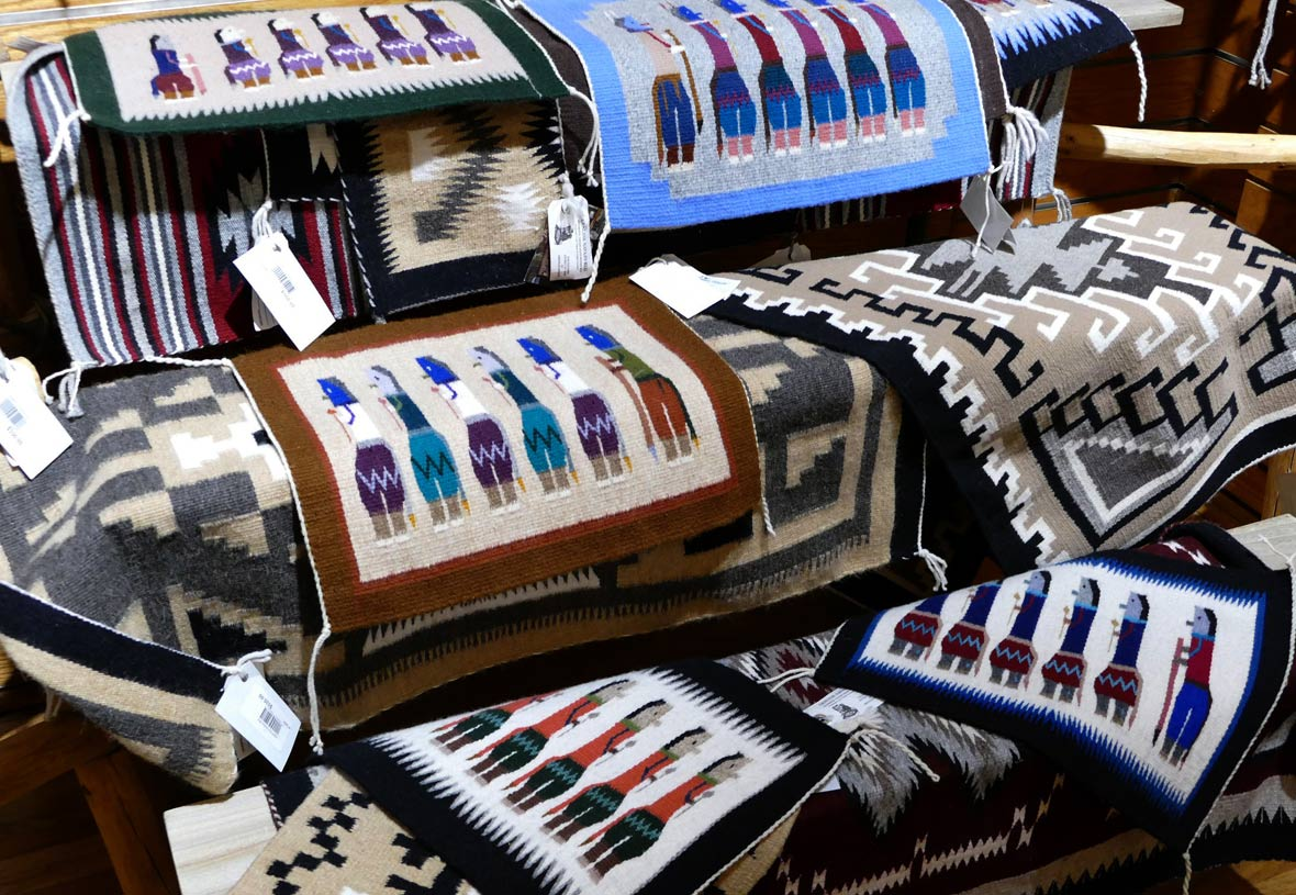 Several Navajo rugs that are sold at Desert View Trading Post at Grand Canyon National Park