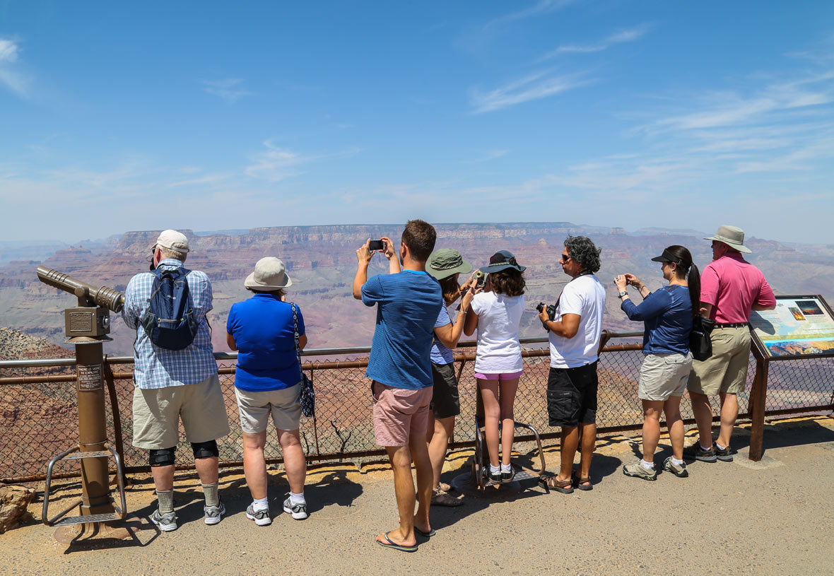 Desert View visitors line up for great photo opportunities