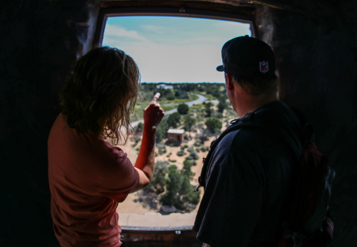 There are multiple viewpoints when climbing Desert View Watchtower