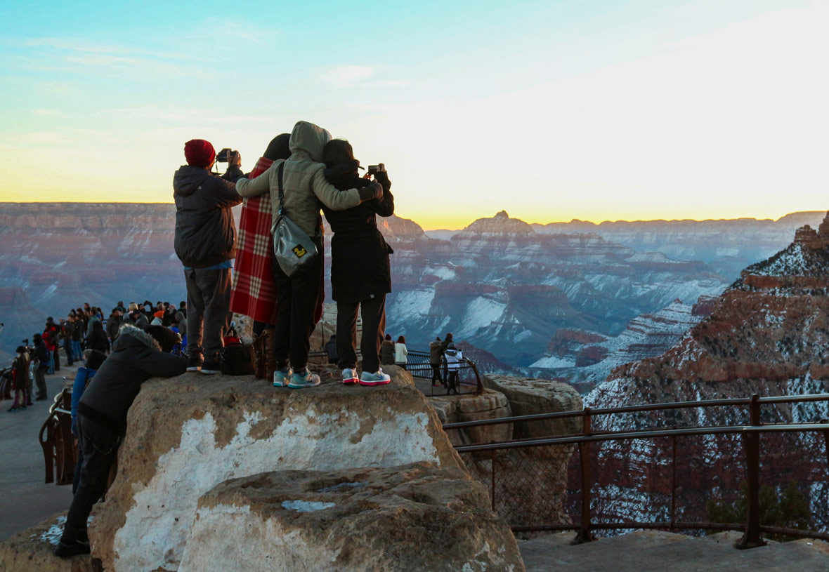 A Winter Group Photo at Mather Point - Grand Canyon South Rim
