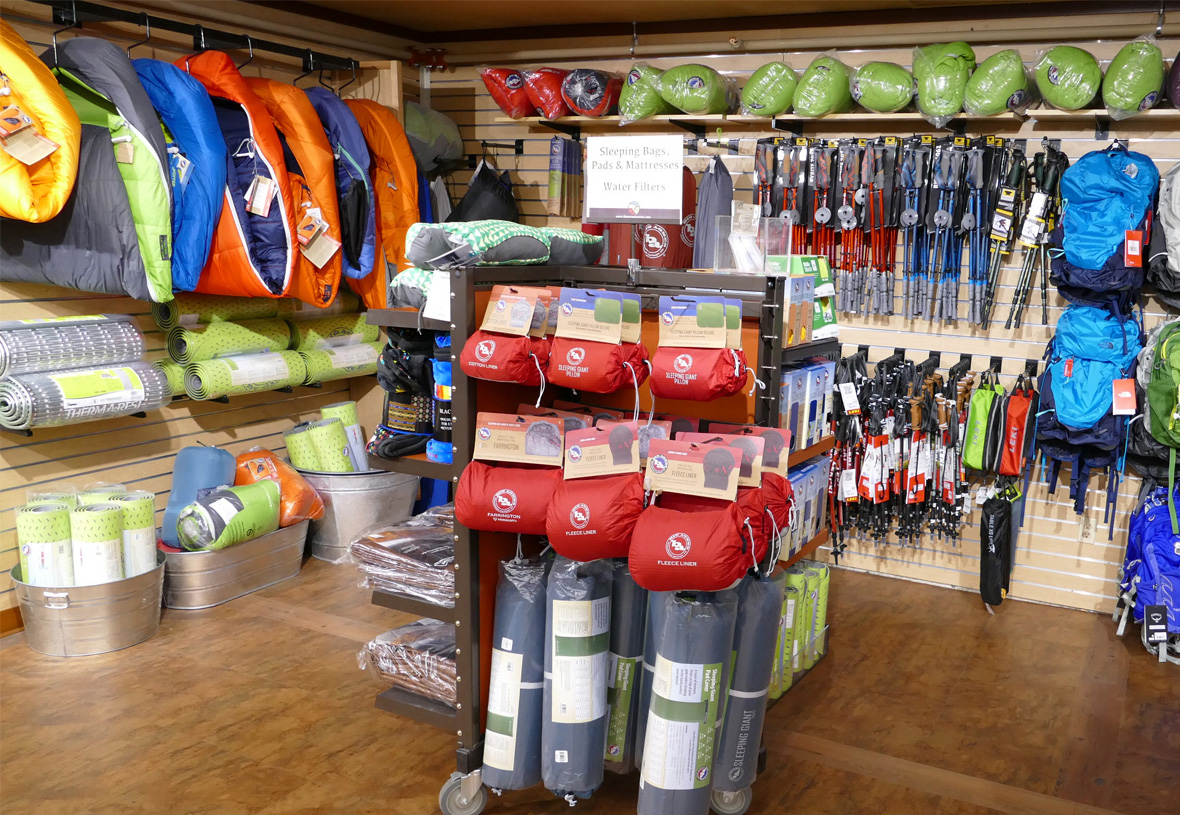 Gear wall at Grand Canyon Outfitters