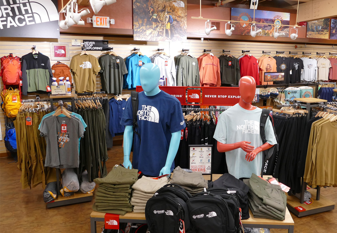 Section featuring North Face clothing at Grand Canyon Outfitters