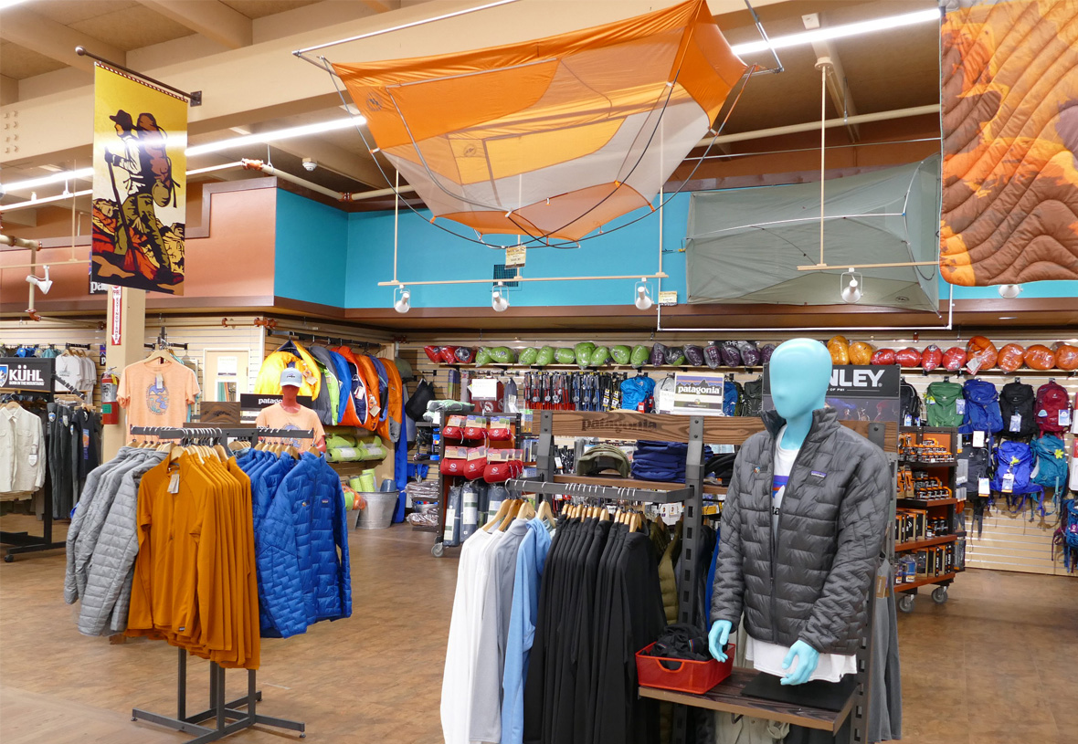 Section featuring Patagonia clothing and tents at Grand Canyon Outfitters