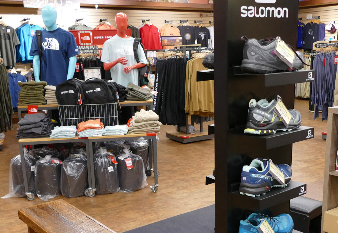 Salomon Shoes display at Grand Canyon Outfitters