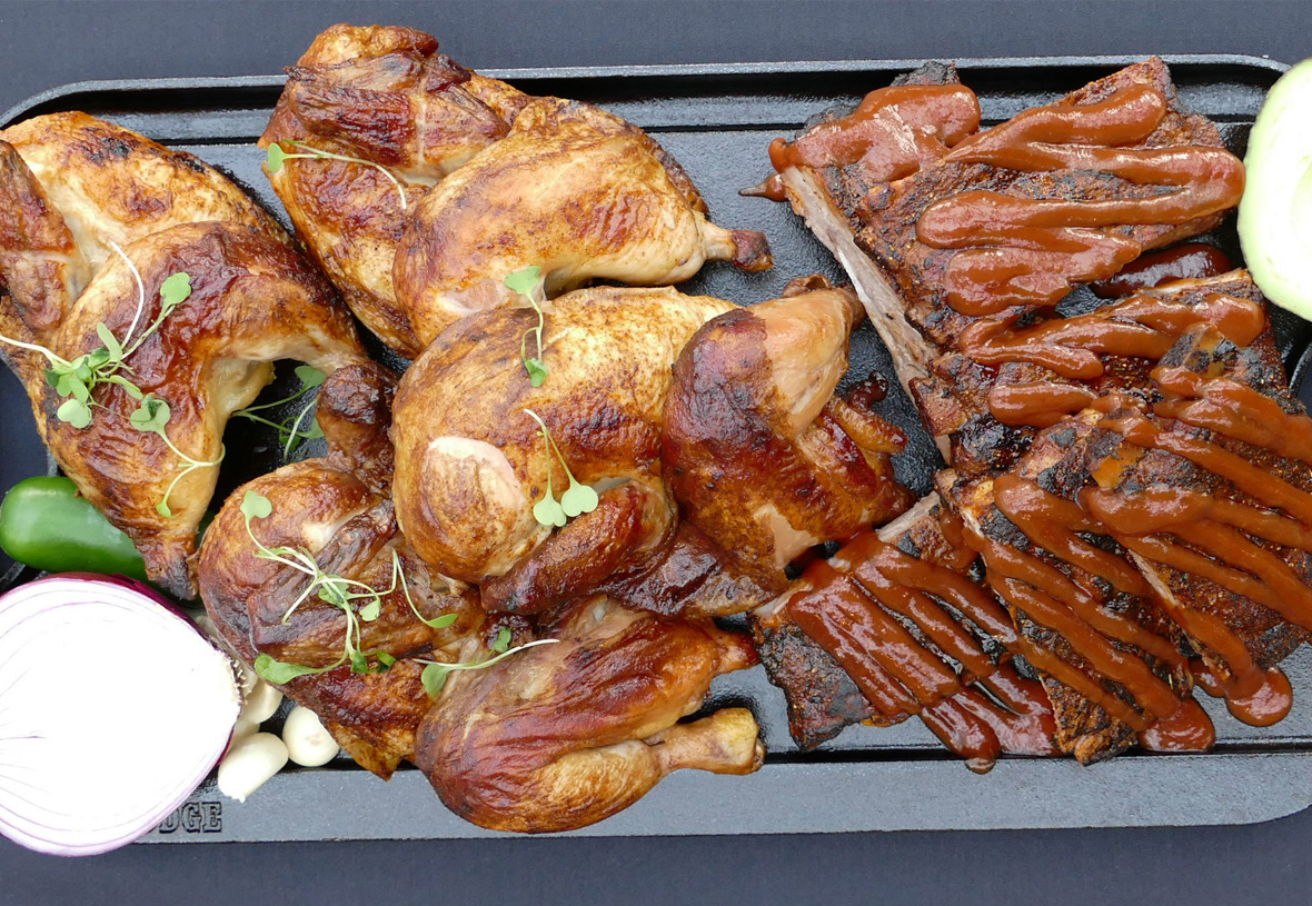 BBQ tray overhead view