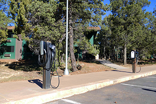 Yavapai East electric car chargers at Grand Canyon National Park's South Rim