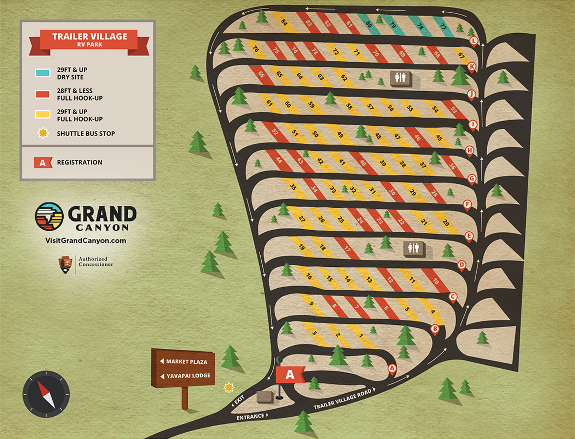 Maps And Directions Yavapai Lodge Trailer Village Desert View - Rv parks usa map