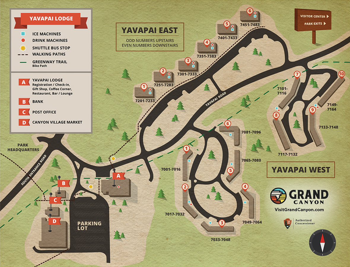 Maps and Directions | Yavapai Lodge | Trailer Village | Grand Canyon ...